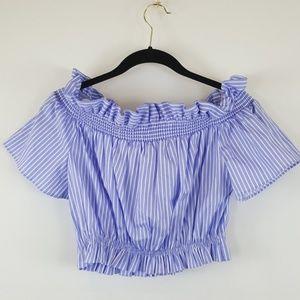 Zara Basic blue/white striped cotton crop top XS